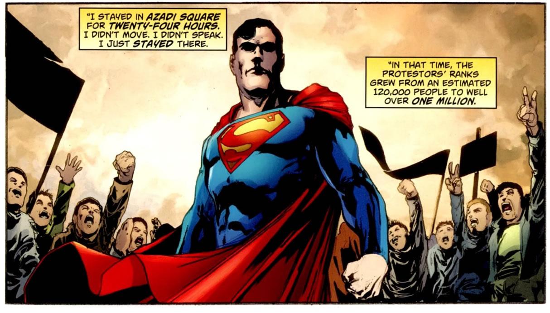 Superman apoiando a Primavera Árabe, em Action Comics #900. Imagem meramente ilustrativa ;)
