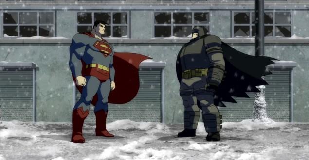 Batman e Superman na versão animada de O Cavaleiro das Trevas