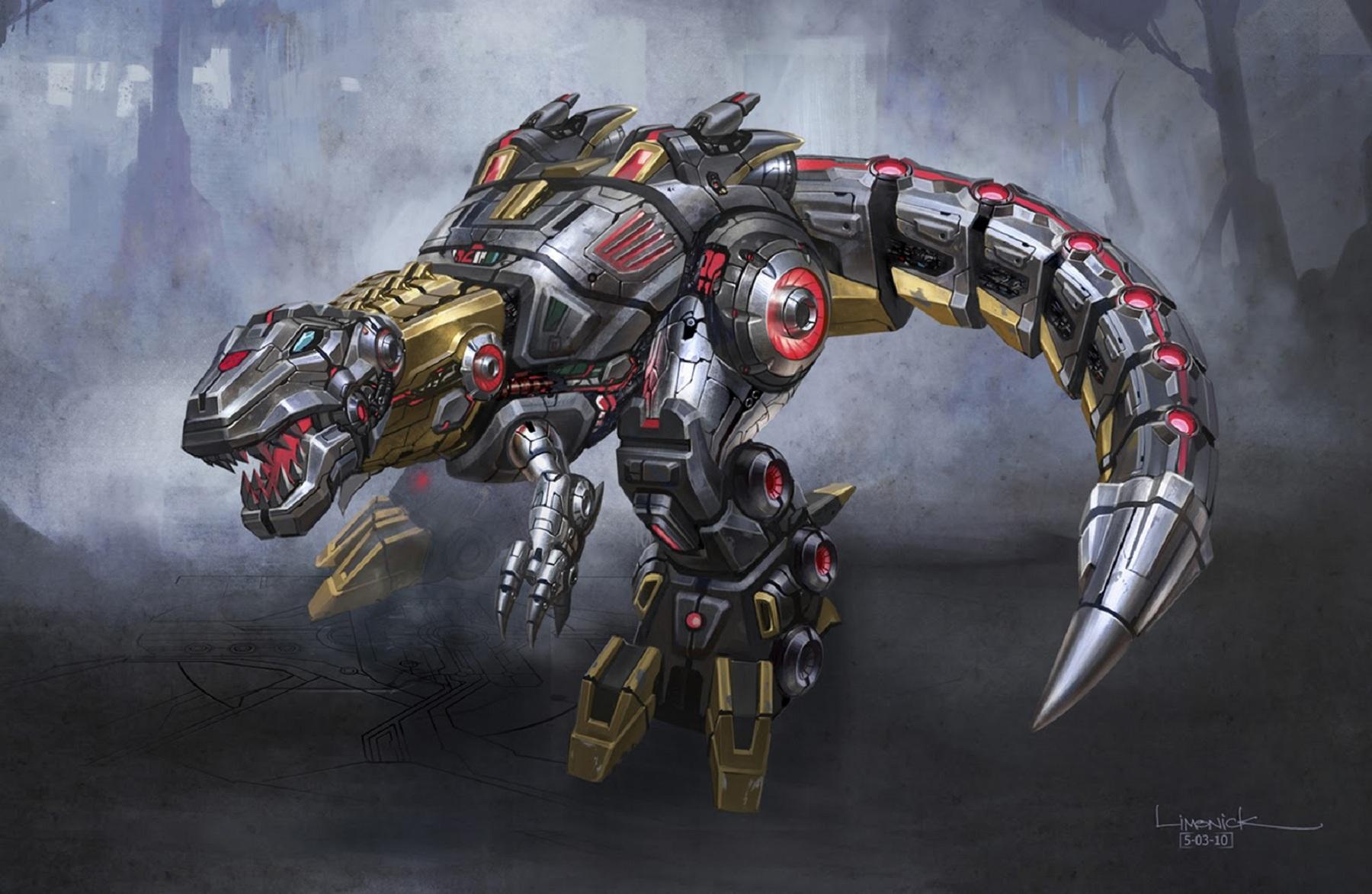 Arte conceitual de um Dinobot do jogo Transformers: Fall of Cybertron