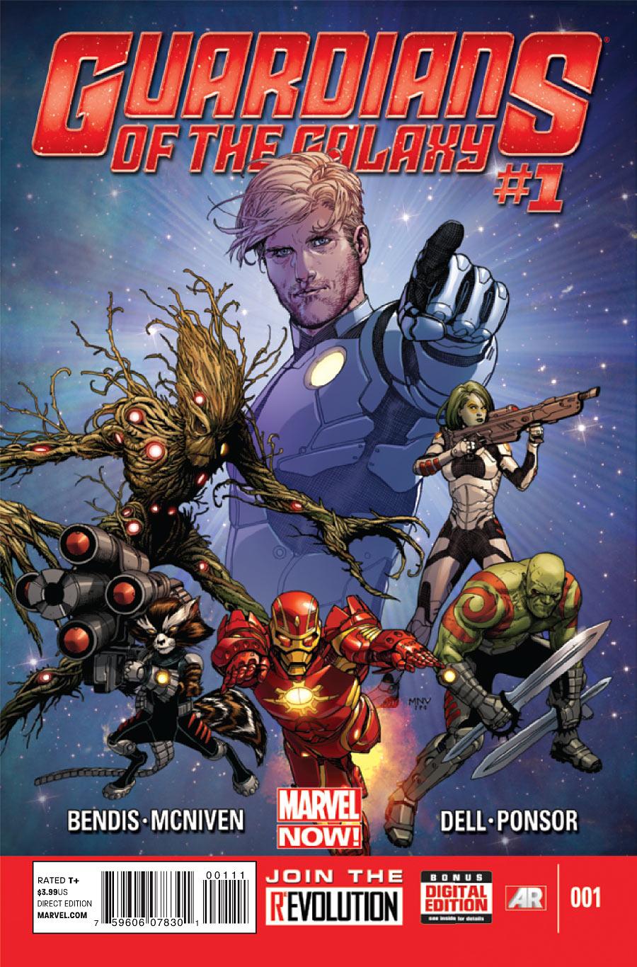 Guardiões da Galáxia de Brian Michael Bendis - com o Homem de Ferro!