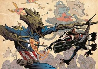 Agora é a vez de Rocky Raccoon e Groot recriarem capas famosas da Marvel