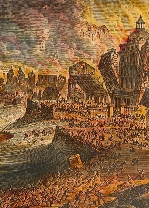 Gravura do terremoto de 1755 em Lisboa