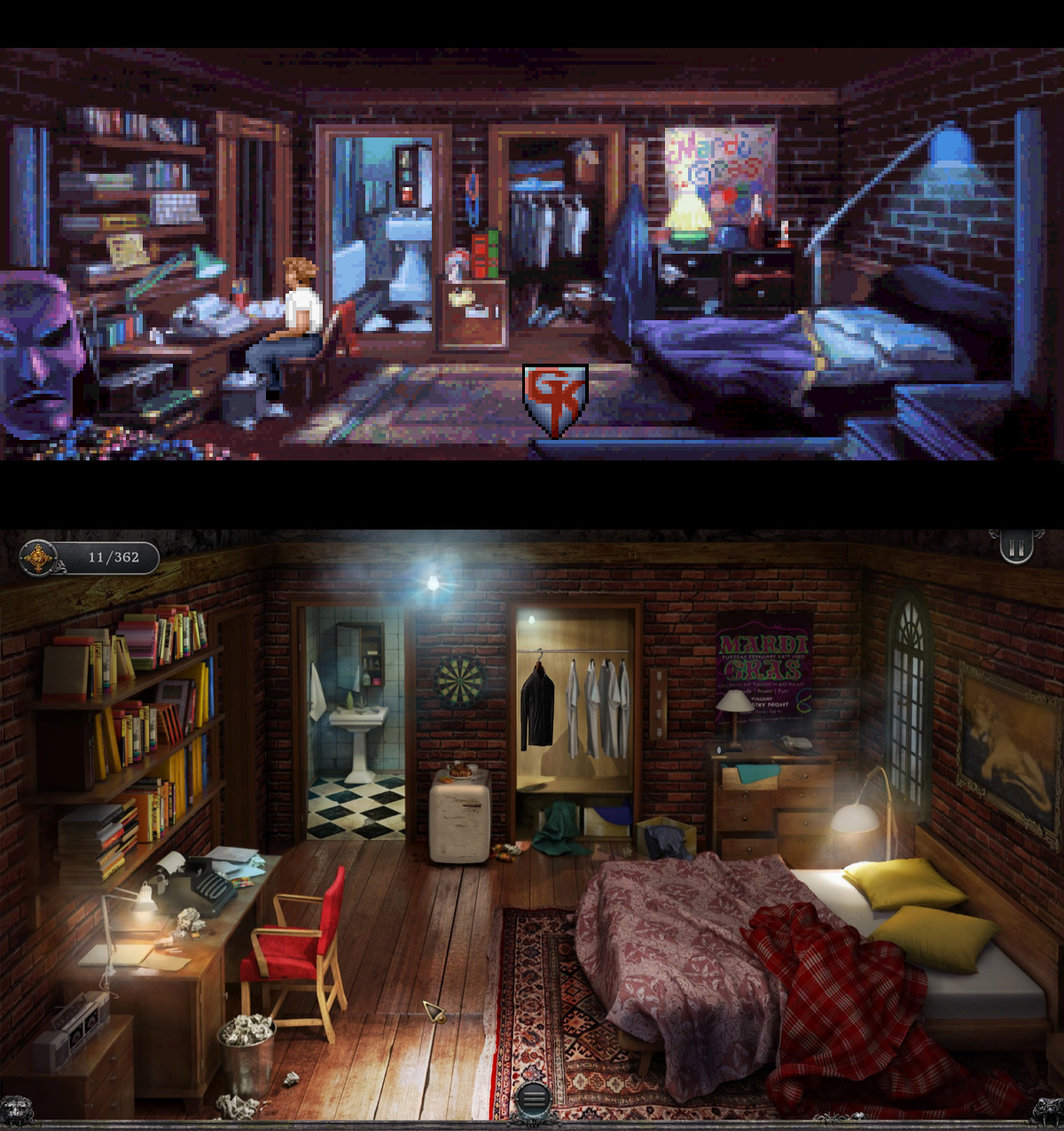Pixels vs photobashing e modelos 3D para os personagens. Em geral, pessoalmente achei os cenários do original mais bonitos…